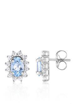 Belk & Co. Aquamarine and White Topaz Earrings in 10k White Gold