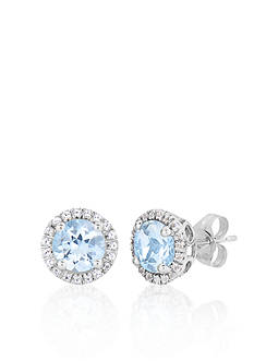 Belk & Co. 10k White Gold Aquamarine and White Topaz Stud Earrings