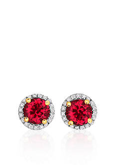Belk & Co. 10k Yellow Gold Created Ruby and White Topaz Earrings