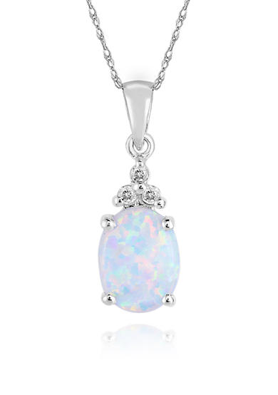 Belk & Co. 10k White Gold Created Opal and Diamond Pendant
