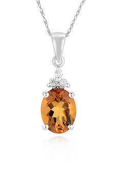 Belk & Co. 10k White Gold Citrine and Diamond Pendant