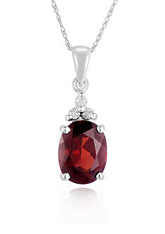 Belk & Co. 10k White Gold Garnet and Diamond Pendant