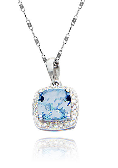 Belk & Co. 14k White Gold Aquamarine and Diamond Pendant <br>