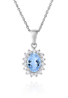 Belk & Co. Aquamarine and White Topaz Pendant in 10k White Gold