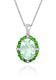 Belk & Co. Sterling Silver Green Amethyst, Chrome Diopside, and Diamond Pendant