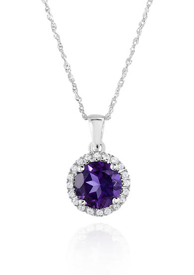 Belk & Co. 10k White Gold Amethyst and White Topaz Pendant
