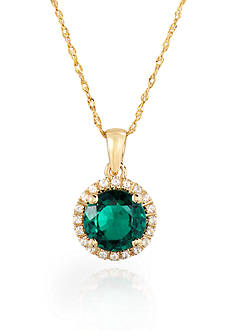 Belk & Co. 10k Yellow Gold Created Emerald and White Topaz Pendant