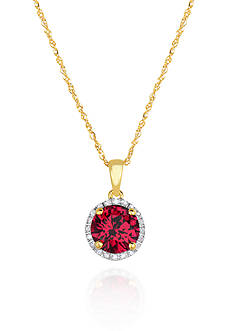 Belk & Co. 10k Yellow Gold Created Ruby and White Topaz Pendant
