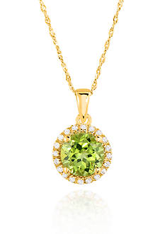 Belk & Co. 10k Yellow Gold Peridot and White Topaz Pendant