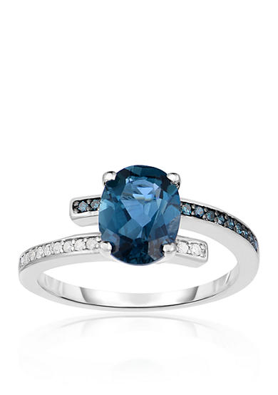 Belk & Co. London Blue Topaz, Blue Diamond, and White Diamond Ring in Sterling Silver