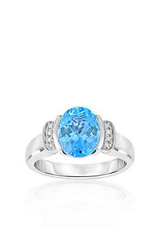Belk & Co. Sterling Silver Blue Topaz and Diamond Ring