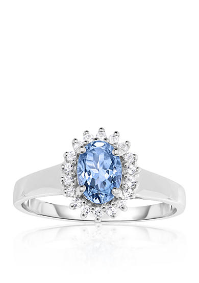 Belk & Co. Aquamarine and White Topaz Ring in 10k White Gold