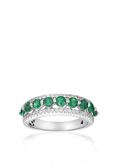 Belk & Co. 10k White Gold Emerald and Diamond Ring