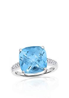 Belk & Co. 14k White Gold Blue Topaz and Diamond Ring