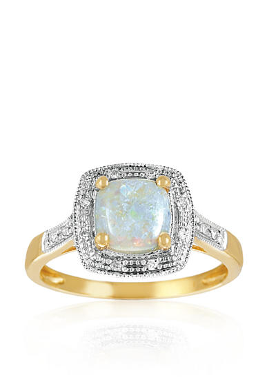 Belk co 14k yellow gold opal and diamond ring belk for Belk fine jewelry rings