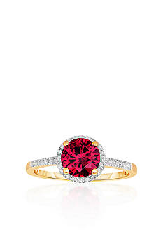 Belk & Co. 10k Yellow Gold Created Ruby and White Topaz Ring