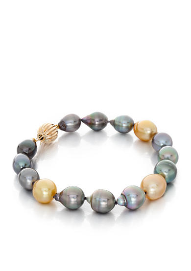 Belk & Co. 14k Yellow Gold Tahitian Black Pearl and Golden South Sea Pearl Bracelet