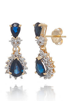 Belk & Co. Sapphire and Diamond Earrings in 14k Yellow Gold