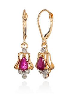 Belk & Co. 14k Yellow Gold Ruby and Diamond Earrings