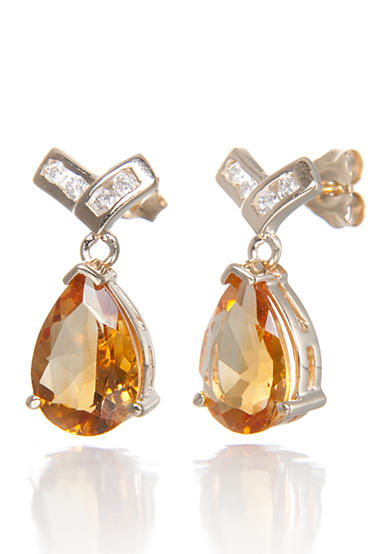 Belk & Co. Citrine and Diamond Earrings in 14k Yellow Gold