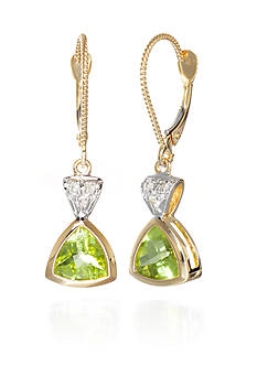 Belk & Co. Peridot and Diamond Accent Earrings in 14k Yellow Gold