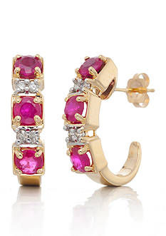 Belk & Co. Ruby and Diamond Hoop Earrings in 14k Yellow Gold