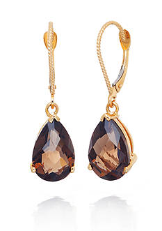 Belk & Co. 14k Yellow Gold Smokey Quartz Earrings