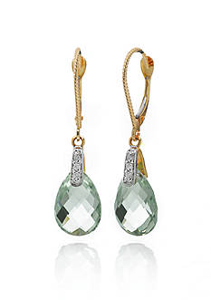 Belk & Co. 14k Yellow Gold Green Quartz and Diamond Earrings