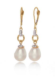 Belk & Co. 14k Yellow Gold Freshwater Pearl and Diamond Earrings