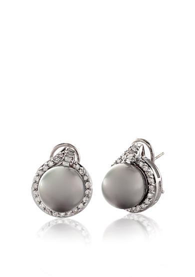 Belk & Co. 14k White Gold Tahitian Black Pearl and Diamond Earrings