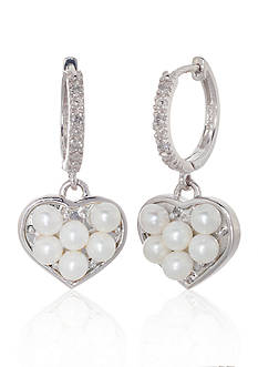 Belk & Co. 14k White Gold Freshwater Pearl and Diamond Heart Earrings