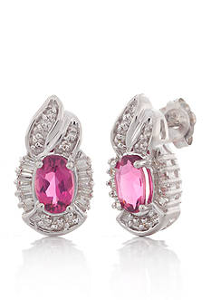 Belk & Co. Pink Tourmaline and Diamond Earrings in 14k White Gold