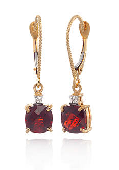 Belk & Co. 14k Yellow Gold Garnet and Diamond Earrings