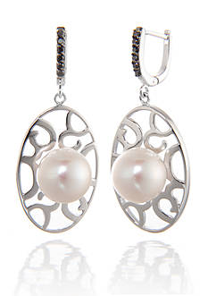 Belk & Co. 10-mm. Freshwater Pearl and Diamond Earrings in Sterling Silver