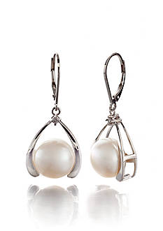 Belk & Co. Sterling Silver Freshwater Pearl and Diamond Earrings
