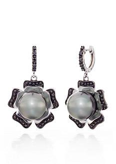 Belk & Co. Sterling Silver Black Tahitian Pearl and Black Diamond Flower Earrings