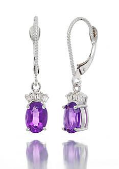 Belk & Co. 14k White Gold Amethyst and Diamond Earrings