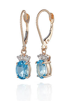 Belk & Co. 14k Yellow Gold Blue Topaz and Diamond Earrings