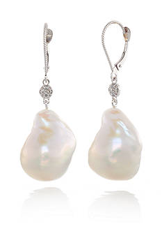 Belk & Co. 14k White Gold Cultured Freshwater Pearl and Diamond Earrings