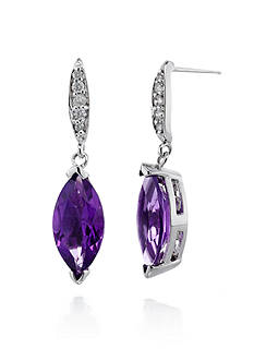 Belk & Co. 14k White Gold Amethyst and Diamond Earrings