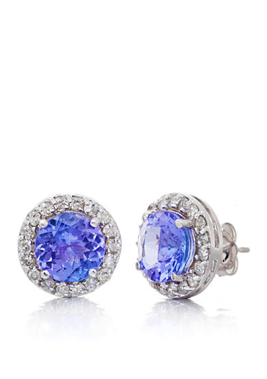 Belk & Co. Tanzanite and Diamond Earrings in 14k White Gold