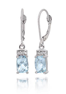 Belk & Co. Aquamarine Gemstones & Diamonds Earrings Set in 14K White Gold