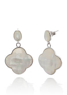 Belk & Co. Sterling Silver White Mother of Pearl Clover Earrings