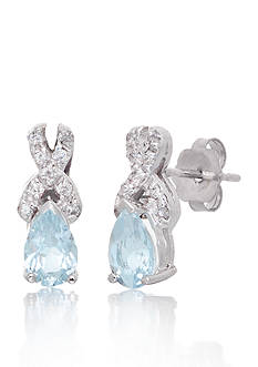 Belk & Co. Aquamarine Oval Gemstone with Diamonds Earrings Set in 14K White Gold