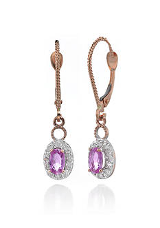 Belk & Co. 14k Rose Gold Pink Sapphire and Diamond Earrings