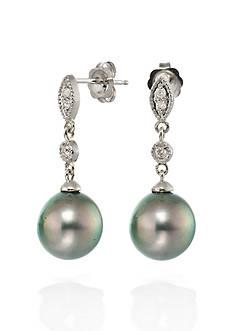 Belk & Co. 14k White Gold Black Tahitian Pearl and Diamond Earrings