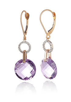 Belk & Co. 14k Rose Gold Pink Amethyst and Diamond Earrings