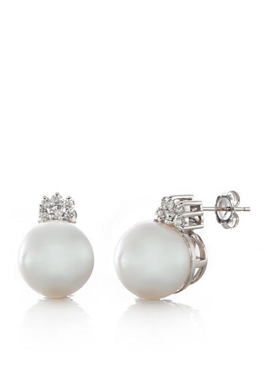 Belk & Co. 14k White Gold Cultured White South Sea Pearl and Diamond Earrings