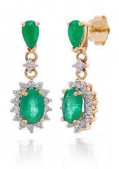 Belk & Co. Emerald and Diamond Earrings in 14k Yellow Gold
