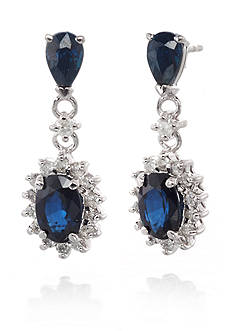 Belk & Co. 14k White Gold Sapphire and Diamond Earrings